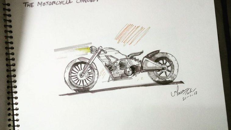 A chopper bike sktech made on a copy by horsepower fan